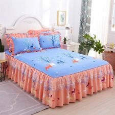 Bedroom Flower Floral Skirt Pillowcases Dust Ruffle Bedspread Bed Cover All Size