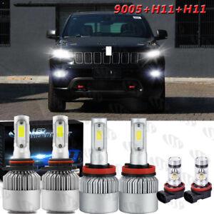 For Jeep Grand Cherokee 2014-2018 6Pcs LED Headlights Fog Light Bulbs Kit White