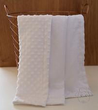 White Seersucker Dot Minky Baby Blanket Stroller Pram Crib Shower Gift