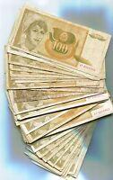 Yugoslavia Bundle of 100 Notes 1991 P105 100 Dinara VF- F Circulated Condition