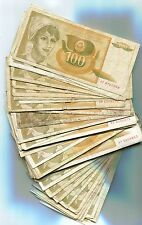 Yugoslavia Bundle of 100 Notes 1991 P105 100 Dinara VF- F Circulated Condition