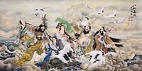 ORIENTAL ASIAN ART CHINESE FAMOUS FIGURE WATERCOLOR PAINTING-Eight Immortals