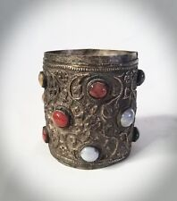 Antique Metal Cup w/  Inset Cabochon Semi-Precious Stones/Glass