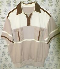 VTG PIERRE CARDIN? Men's Large Burgundy Beige Colorblock SS POLO RUGBY Shirt EUC