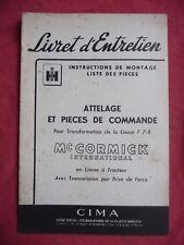 livret d'entretien Mc CORMICK INTERNATIONAL attelage lieuse F7-R CIMA 1953