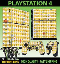 PS4 Piel emoji cara sonriente AMARILLO EMOTICONOS Pegatina + MANDO de pie