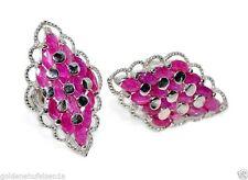 Echte-Ohrschmuck aus Sterlingsilber mit Rubin Butterfly-Verschluss für Damen