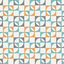 Papel Pintado Rasch De Lujo Retro Geométrico Cuadros Estampado Color Naranja