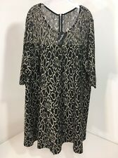SIMPLY BE WOMEN'S 1/2 SLEEVE LACE FLORAL PRINT DRESS BLK/BEIGE US SZ 24