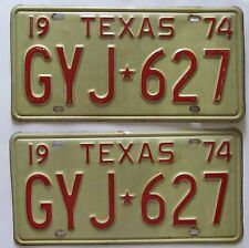 Texas 1974 License Plate PAIR - NICE QUALITY # GYJ-627