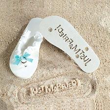 Brides Just Married White Flip Flops Something Blue Wedding Bridal Sandals