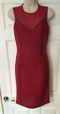 French Connection FCUK 8 Red berry pencil wiggle fitted bodycon Dress DESIGNER