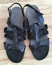 SAS Sandals Black Shimmer Leather Strappy Open Toe Block Heels Sandals US 8.5 M