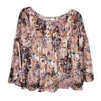 anthropologie akemi kin Floral Top Sheer  Bell Sleeve Pink Size Medium