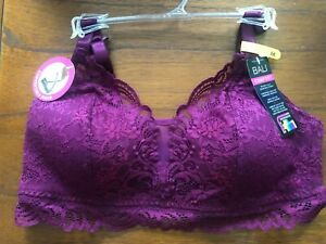 New Bali Purple Lace Comfort Wirefree Bralette DF6591 Medium MSRP $40