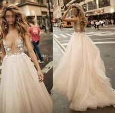 Beach Berta V-Neck Wedding Dresses Applique A-Line Sleeveless Backless Custom