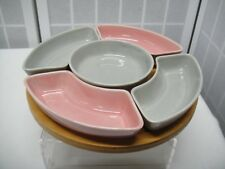 """Mid Century Lazy Susan, Pink & Gray with Wood Base, 9 1/2"""""""