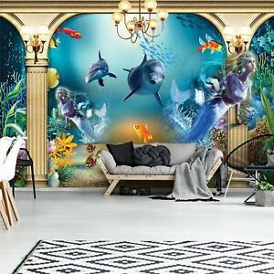 Fototapete XXL Delfine Ozean Kinderzimmer Fische Wasser Tapete Wandtapete 74