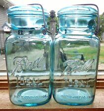 2 OLD VINTAGE BLUE GLASS SQUARE 1923-33 BALL IDEAL CANNING JARS GREENISH LID