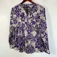 Talbots Blouse Button V Neck Purple Floral Print Long Sleeve Size M Medium