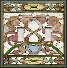 Metal Light Switch Plate Cover Art Nouveau Stained Glass Pattern - Home Decor