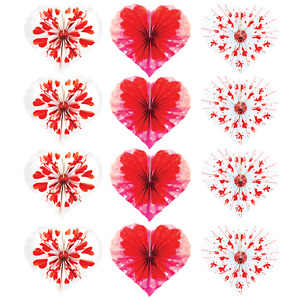 12pk Valentines Day Paper Fans Cupid Heart Shaped Red White Party Decorations