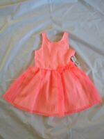 Cat & Jack Girl's Neon Coral Pink Stripe Dressy A-line Dress Size XL(14/16)