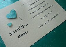 10 Handmade Personalised Heart Wedding Save The Date Cards, free envelopes