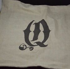 "Pottery Barn Textured Linen Alphabet Pillow Cover 24"" Q MONOGRAMMED #115"