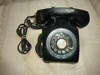 VINTAGE WESTERN ELECTRIC BELL SYSTEM BLACK ROTARY DESK PHONE - FIX CORD (Q0 57)