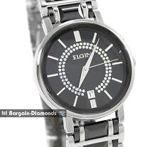 mens Elgin black ceramic business success watch CZ calendar bracelet