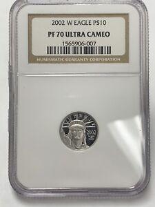 2002 Platinum Eagle Statue Of Liberty $10 1/10 Oz. NGC Pf70 Ultra Cameo