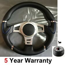 "PU LEATHER 13.7"" STEERING WHEEL 350MM AND BOSS KIT  FITS VW GOLF MK4 MK5 POLO"