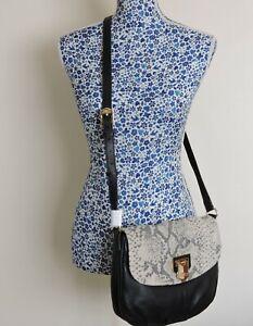 Aimee Kestenberg Soft Leather Snakeskin Flap Cross Body Saddle Bag Flap Handbag