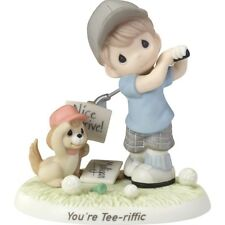 * New Precious Moments Figurine Father Dad Golfer Golf Dog Caddy Boy Statue