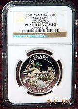 2013 CANADA $10 DUCKS OF CANADA MALLARD DUCK COLORIZED SILVER COIN - NGC PF70 UC