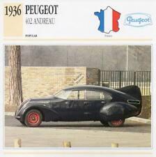 1936 PEUGEOT 402 ANDREAU Classic Car Photograph / Information Maxi Card