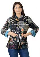 Indien Coton Femme Veste Hiver Noir Patchwork Réversible Blazer Taille Manteau