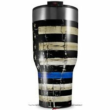 Skin for 2017 RTIC 40oz Cracked Blue Line USA American Flag TUMBLER NOT INCLUDED