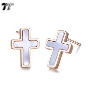 TT 9K Rose Gold S.steel White Mother Pearl Cross Earrings (EC114A) NEW
