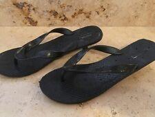 Damen Badeschuhe Flip Flops mit Absatz Gr. 37 schwarz