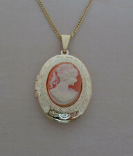 "Pink Oval Shaped Cameo Locket, Pendant on a 18"" Long Gold Plated Chain"
