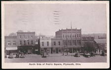 PLYMOUTH OH OHIO North Side Public Square Vintage 1936 WB Postcard Old PC