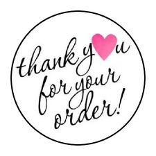 "30 1.5"" THANK YOU FOR YOUR ORDER HEART PINK FAVOR LABELS ROUND STICKERS***"