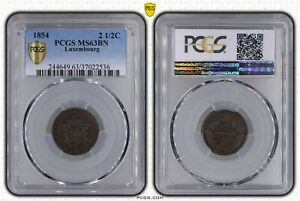 LUXEMBOURG 2-1/2 CENTIMES UNC COIN 1854 YEAR KM#21 WILLIAM III PCGS GRADING MS63