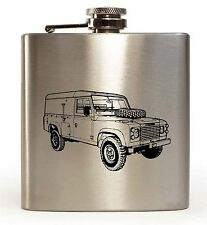 Laser Engraved 6oz Stainless Steel Hip Flask With Series 3 Land Rover Design