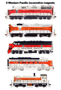 Western Pacific Orange & Silver Locomotives 5 magnet set Andy Fletcher