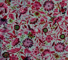 """ANTIQUE 1940-50s PINK FLORAL BIRDS EARLY COTTON FABRIC - SWEET - 34.5"""" WIDE!"""