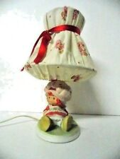 Strawberry Shortcake Vintage Ceramic Bedside Lamp by Agc 1981 with Fabric Shade