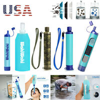 Portable Survival Water Filter Straw Purifier TPU Bottle Camping Emergency Kit